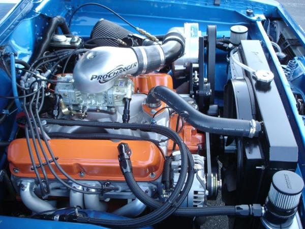 Procharged 340 in 1968 Blue Cuda